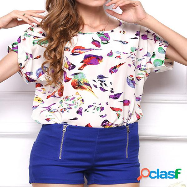 Camiseta Feminina Estampada de Chiffon de Gola Redonda Manga