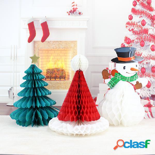 Christmas DIY Decorations Tree Hat Boneco de neve Comb Ball