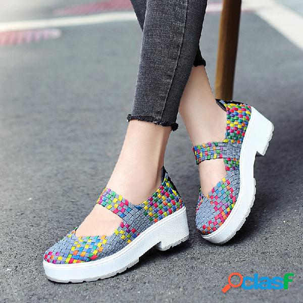 Colorful malha Slip On Salto Grosso sapatos de plataforma