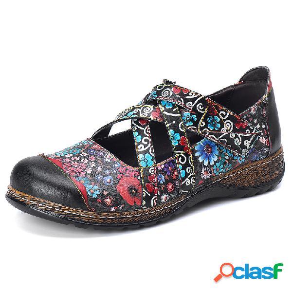 Couro artesanal floral sapatos de apartamentos com tiras de