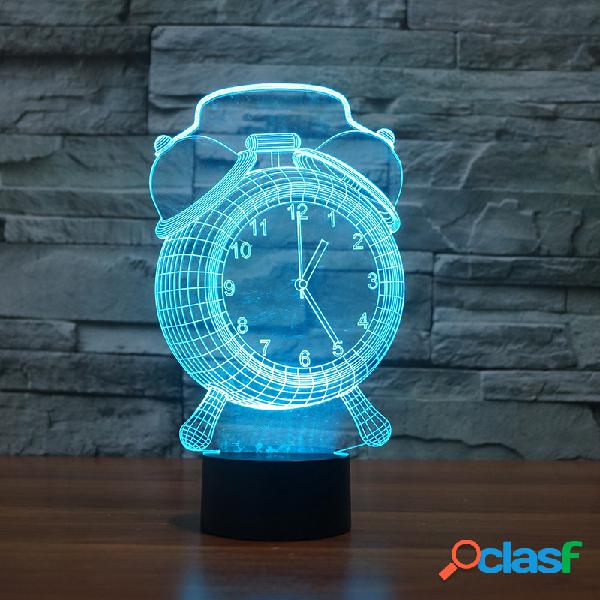 Despertador Lâmpada 3D Visual LED Noite Luz USB Carregando