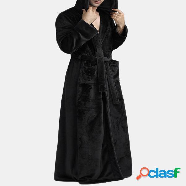 Homens Flanela Engrossar Pijama Liso Robe Com Capuz