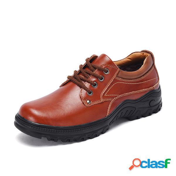 Homens Outrdoor Slip Resistente Couro Sapatos Trabalho