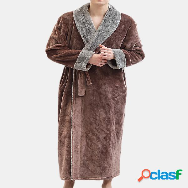 Homens engrossar pijama robe de flanela inverno quente manga