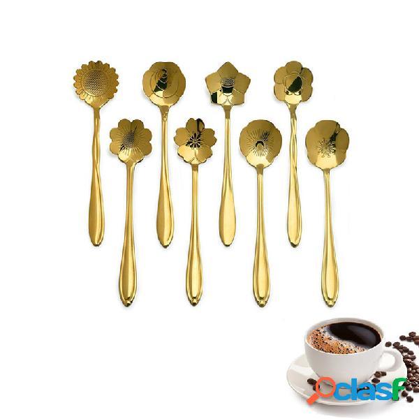 KCASA KC-FS04 Forma de Flor de Ouro Aço Inoxidável Café
