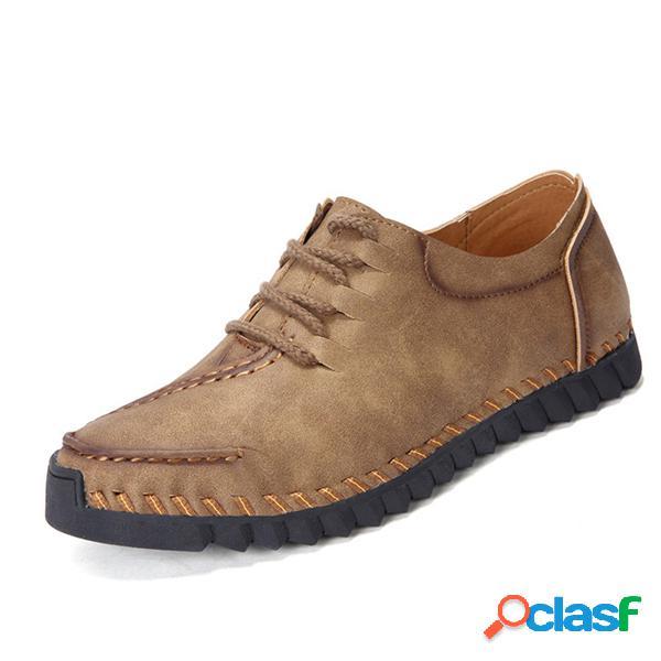 Men Hand Stitching Stylish respirável couro sapatos casuais