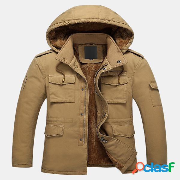 Mens engrossar Sherpa Liner cor sólida casacos com capuz