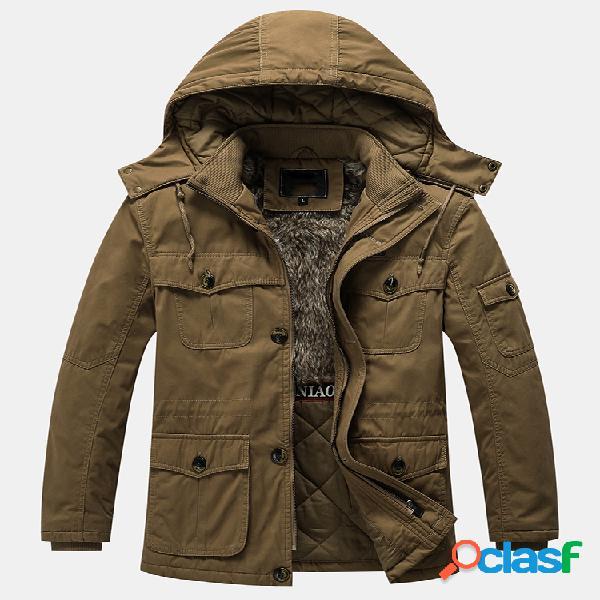 Mens engrossar Sherpa Liner cor sólida velo casacos com