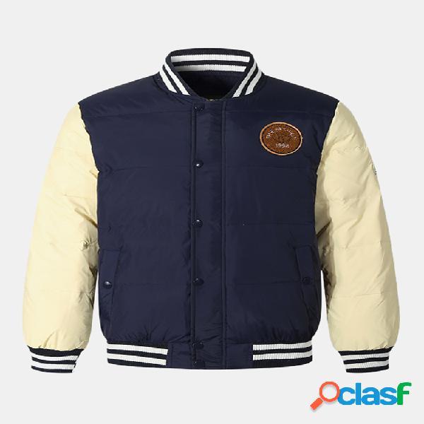 Mens engrossar patchwork contraste cor listra colar jaquetas