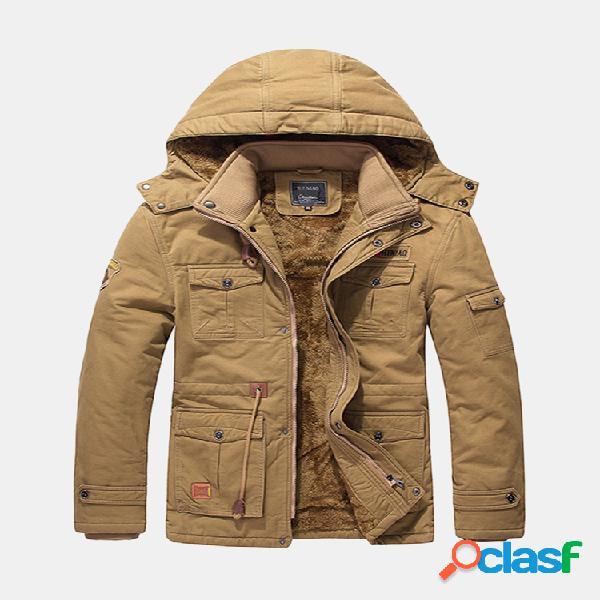 Mens inverno algodão engrossar velo multifunções bolsos