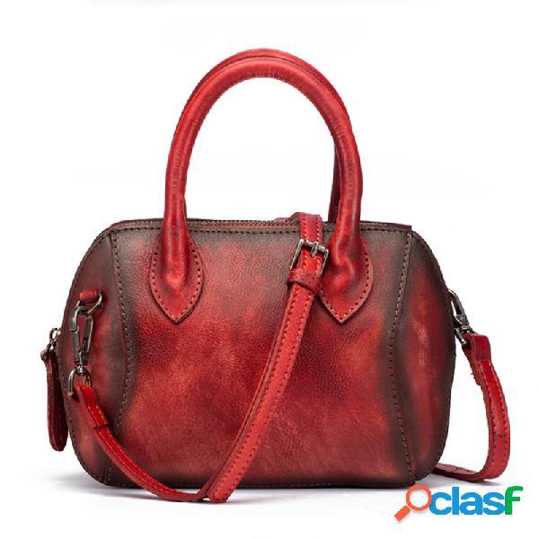Mulheres Couro Genuíno Escova Vintage Handbag Crossbody