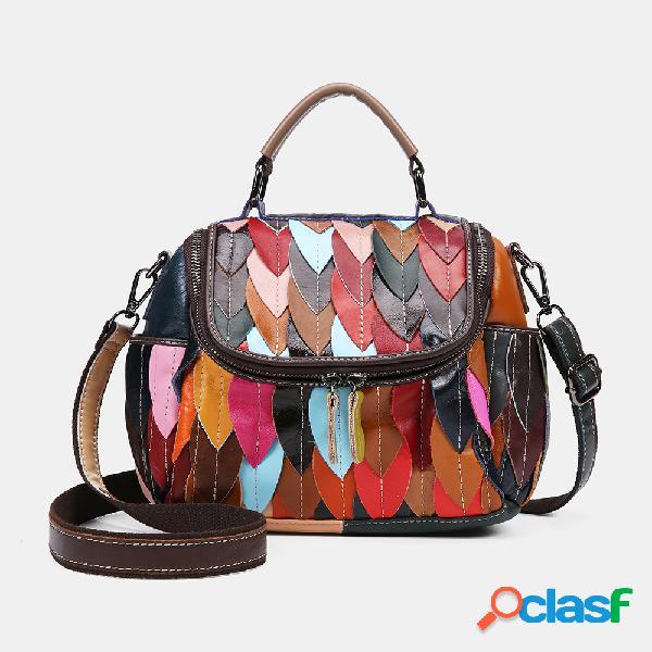 Mulheres Couro Genuíno Retalhos Vintage Handbag Crossbody