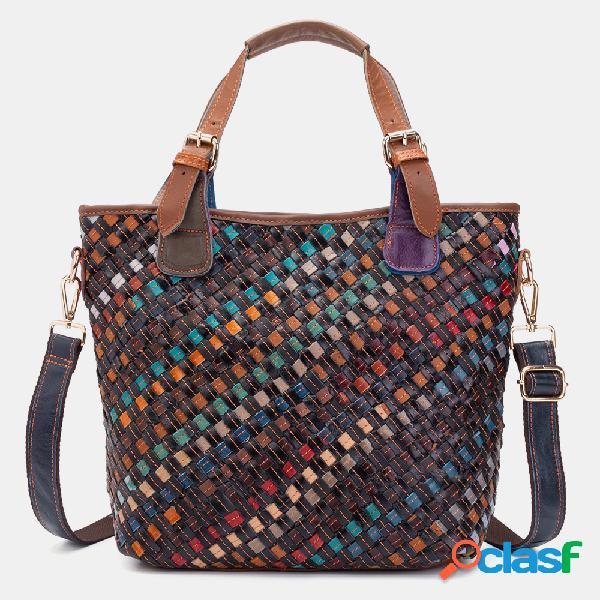 Mulheres Couro Genuíno Tecer Vintage Handbag Crossbody