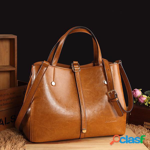 Mulheres Faux Leather Solid Handbag Vintage Crossbody Bolsa