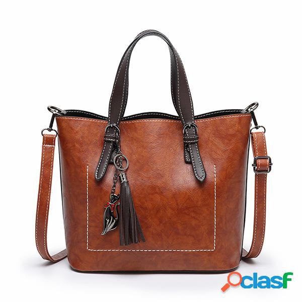 Mulheres Faux Leather Solid Tassel Handbag Lazer Vintage