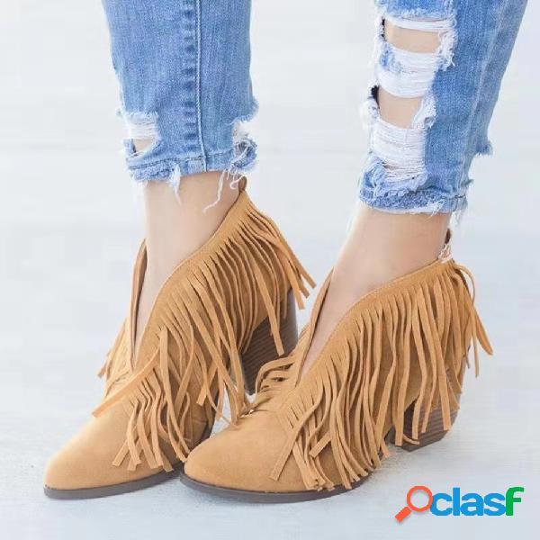 Mulheres Tassel V Shape Slip On Chunky Heel Ankle Boots
