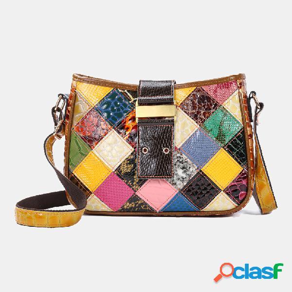 Mulheres casuais Couro Genuíno bolsas patchwork crossbody