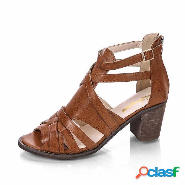 Mulheres senhora peep toe oco zipper sandálias de salto