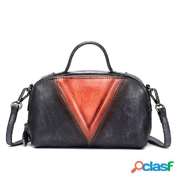 Mulheres vintage Couro Genuíno bolsa Escova sacos de
