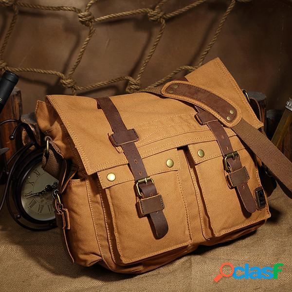 QISEMIAN Couro Messenger Bags Vintage Shoulder Crossbody