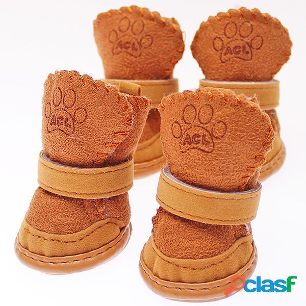 Winter Cat Dog Shoes Pet Dog Botas de neve quentes Suede Pet