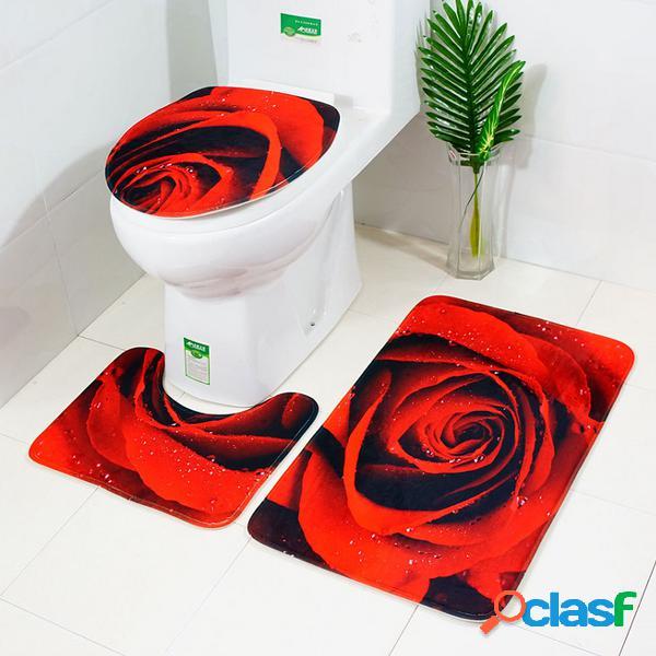 3pcs 3D Rose Banheiro Mat Set Anti Slip Rug Tapete de banho