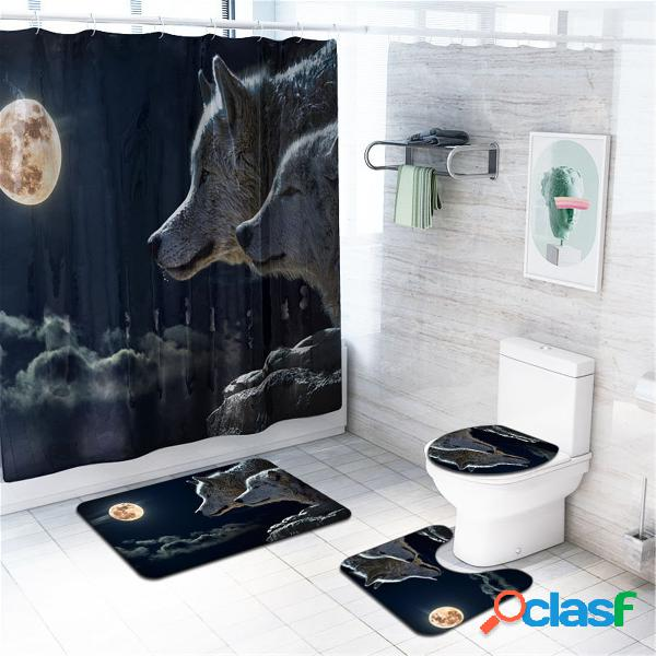 4 Pcs Wolf Banheiro Conjunto de tapete de banho Tapetes