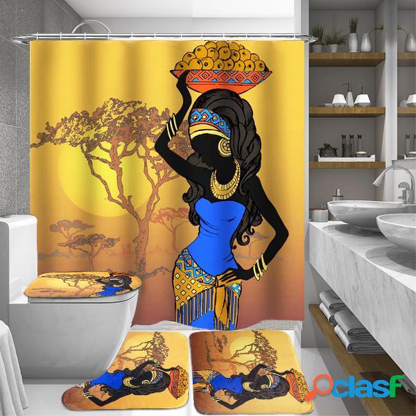 Meninas africanas exóticas Banheiro Tapete de cobertura de