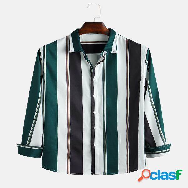 Mens Hit Color Striped Printed Turn Down Collar Camisas de