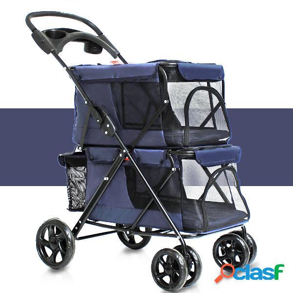Pet Stroller 4 Roda Dobrável Cat Dog Transportadora