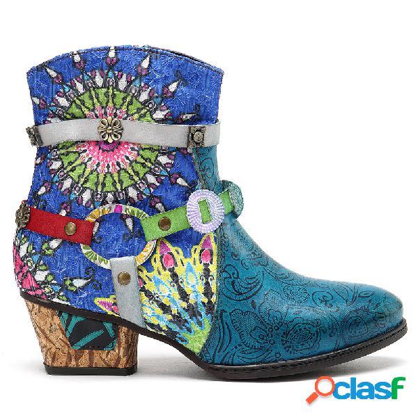 SOCOFY Mulheres que imprimem zíper azul botas de borracha