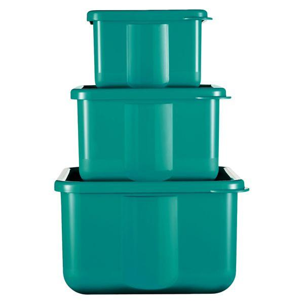 kit com 3 potes plástico verde p guardar conservar