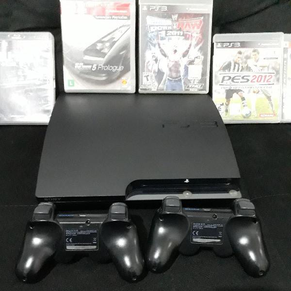 ps3 com 9 jogos originais, cabo de energia e HDMI.