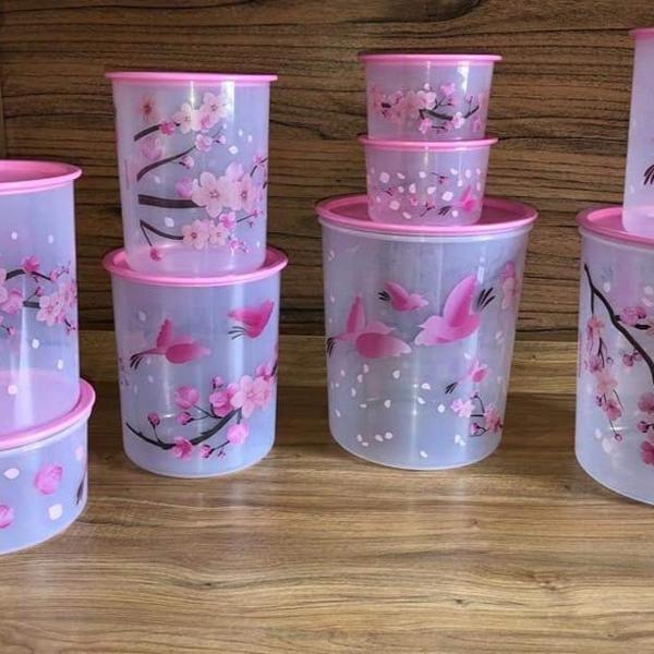 tupperware - kit instantâneas- flor de cerejeira - 9 peças