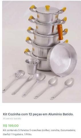 Kit cozinha 12 peças em alumínio Batido.