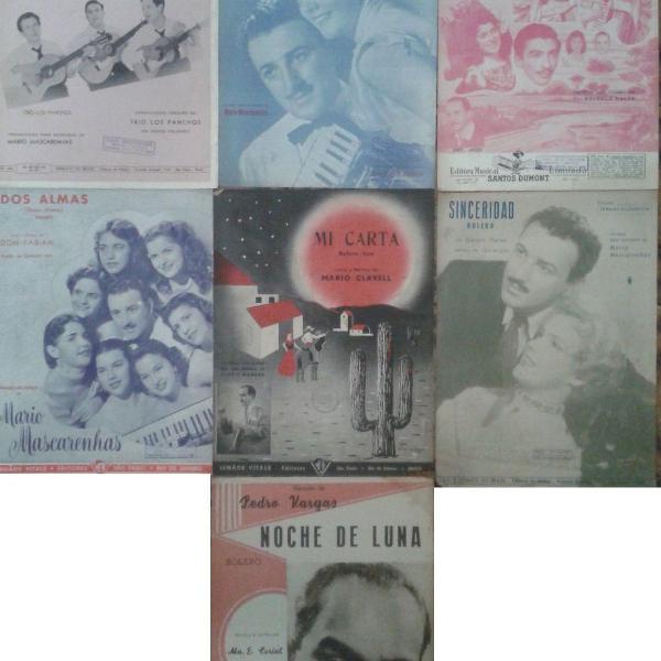 lote com 7 partituras década de 50 bolero - piano / sanfona