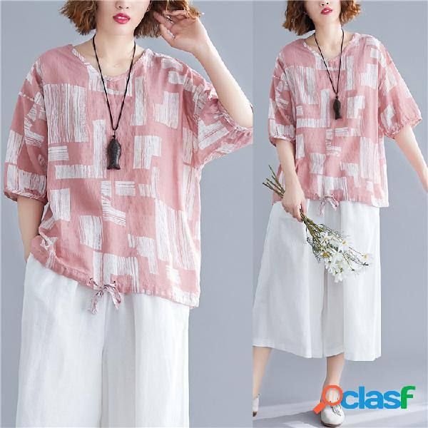 Algodão de impressão geométrica Camisa literário roupas