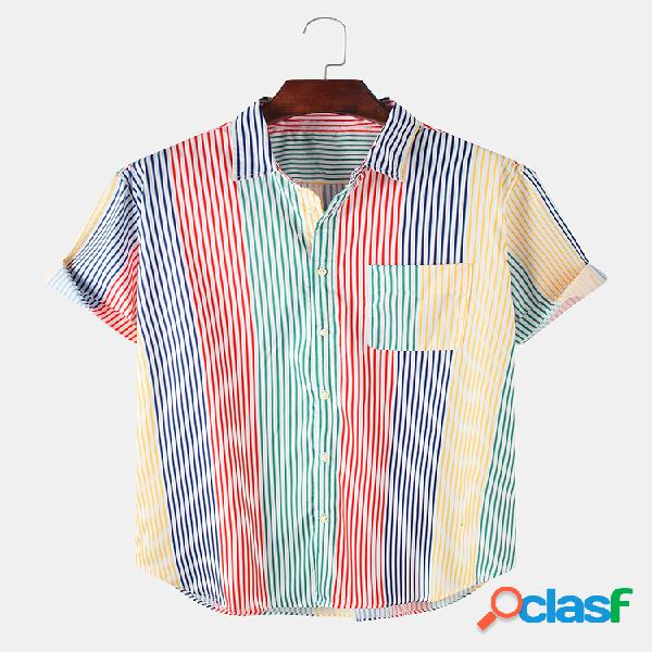 Mens Multi Color Striped Chest Pocket Turn Down Collar