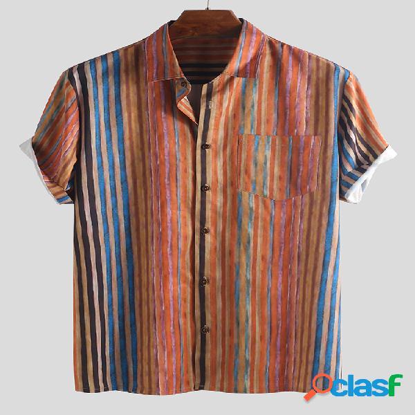 Mens Multi Color Striped Style Ethnic Turn Down Collar