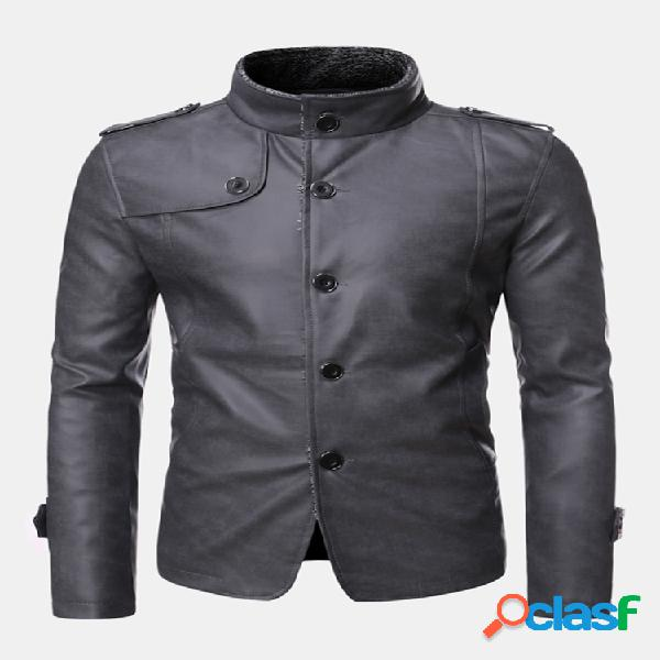 Mens inverno quente engrossar velo liso forrado jaqueta de