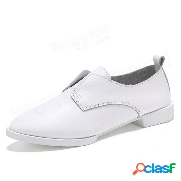 Mulheres Casual Pure Color Flat Slip On Shoes