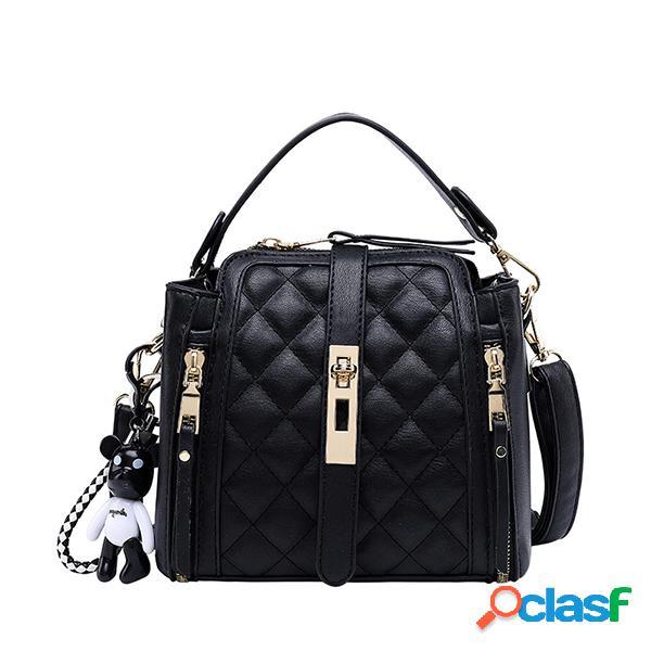Mulheres Faux Leather Argyle Handbag Crossbody Bolsa Balde