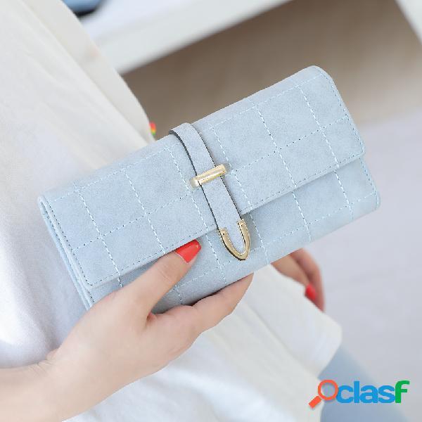 Mulheres Faux Leather Solid Multi-função longa carteira 8