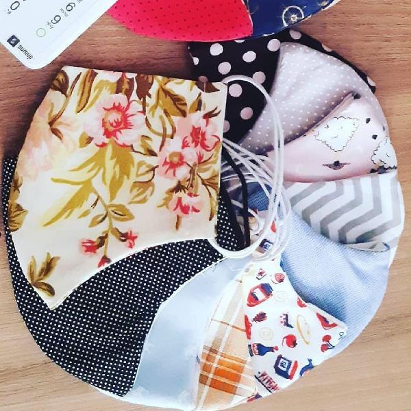 3 máscaras de tecido lavável