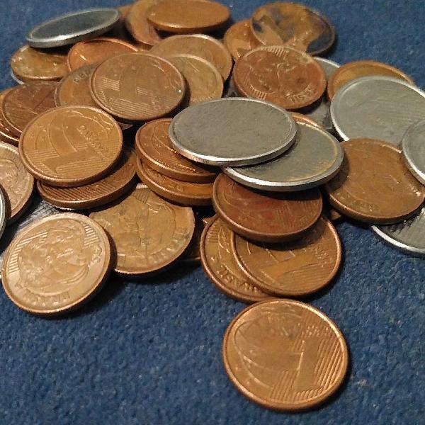 50 moedas de 1 centavo