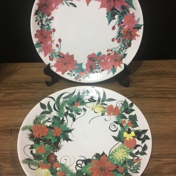 Jogo de 02 Pratos Rasos de Porcelana Floral Collection