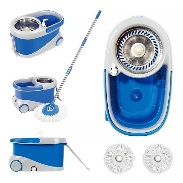 balde spin mop360 inox com rodinha cor azul e 2 refis