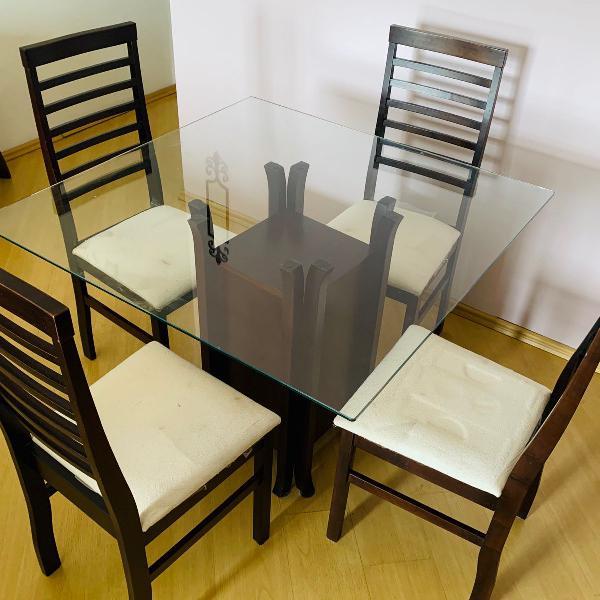 jogo de jantar-mesa de jantar e 4 cadeiras