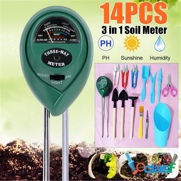 Medidor de pH do solo 14PCS Succulent Planta Potting Tool