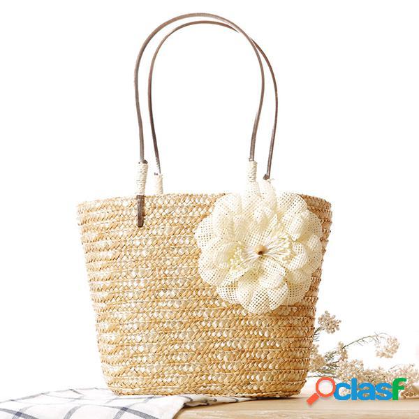 Mulheres palha flor designer bolsa vocação Praia Bolsa